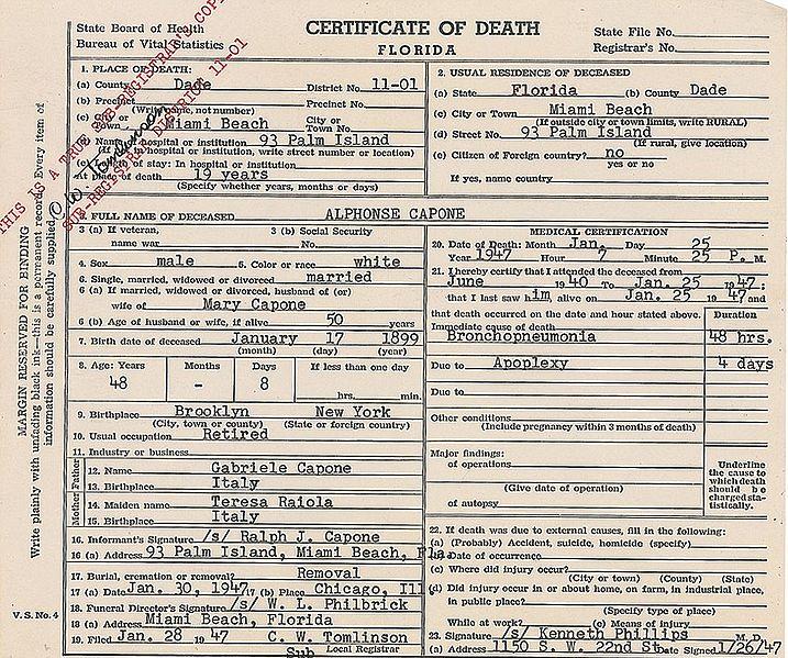 Al Capone Death Certificate