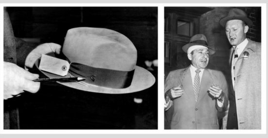 Costello's hat, complete with bullet hole.