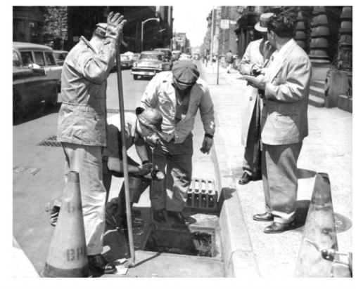 Investigators search the sewer for the gun that tried to take down Frank Costello.