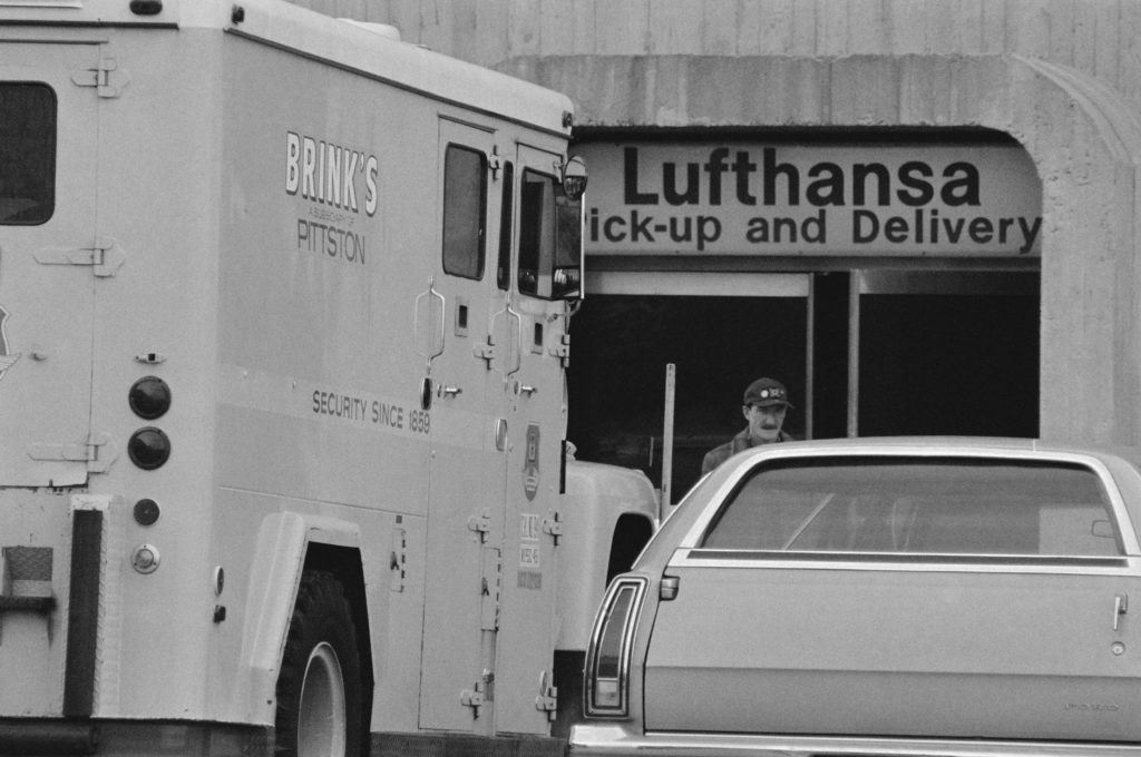 Brink's Delivery Truck Waiting Outside Lufthansa Cargo Terminal