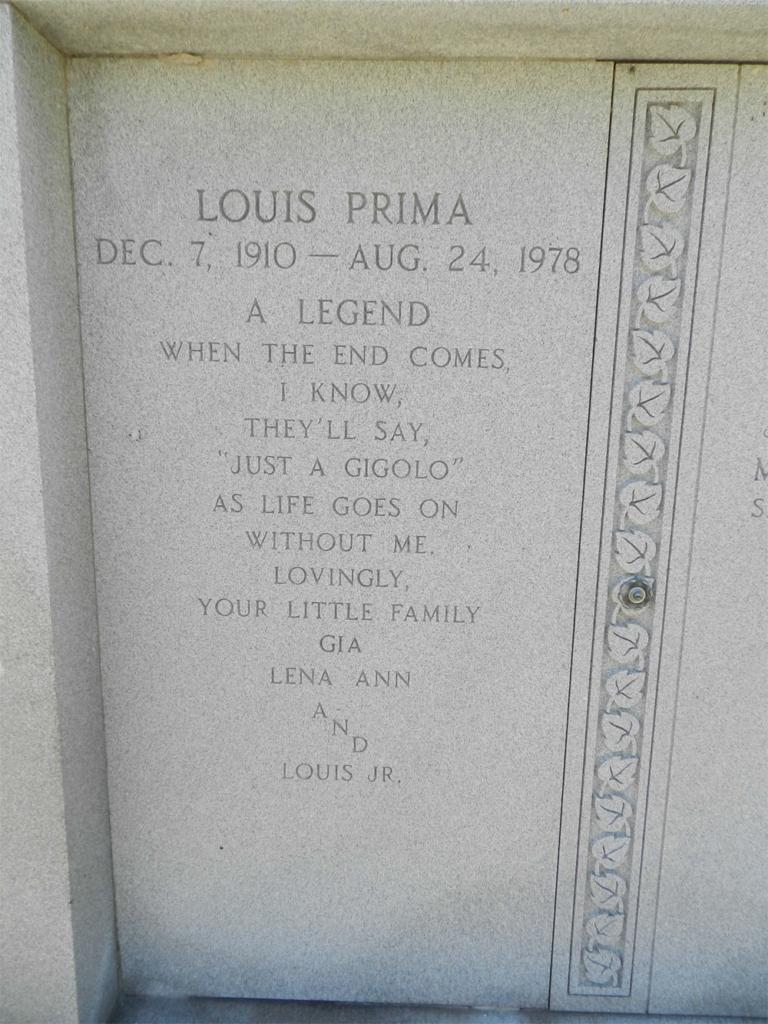 Louis Prima Burial