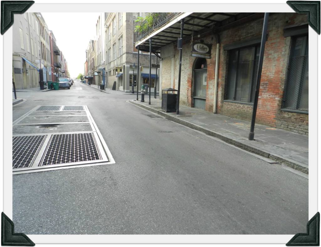 General area where Labousse fell on Rue Bienville. About 30 feet away from the intersection with Rue Chartres.