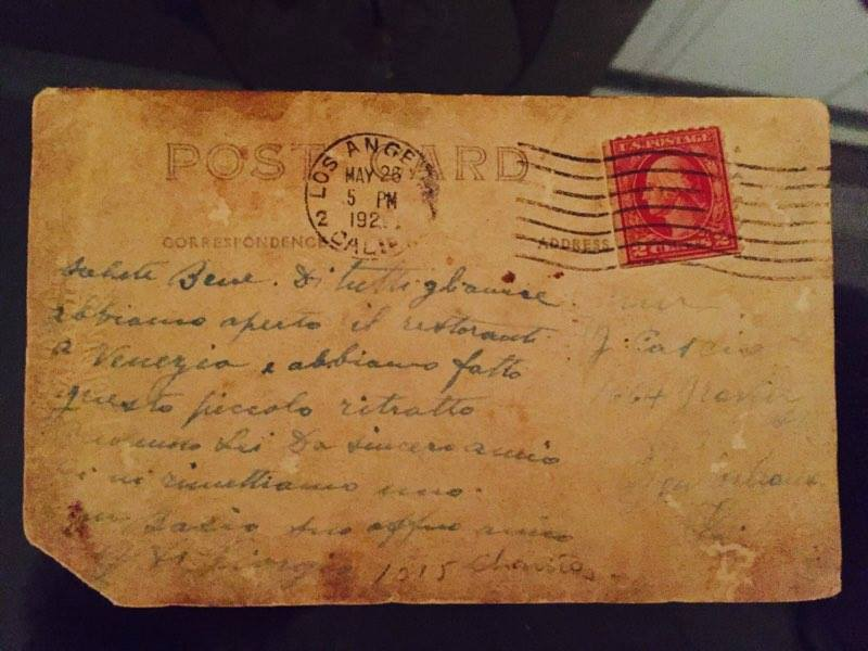 Postcard sent from Vito DiGorgio