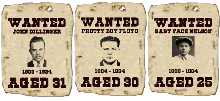 The Three Musketeers: John Dillinger, Pretty Boy Floyd, Baby Face Nelson
