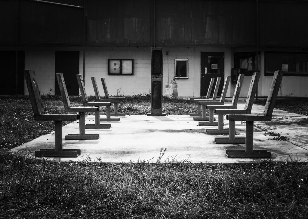 chairs outside prison