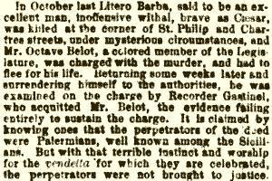 Newspaper clippings published on  1st April 1869 about Agnello's killing.