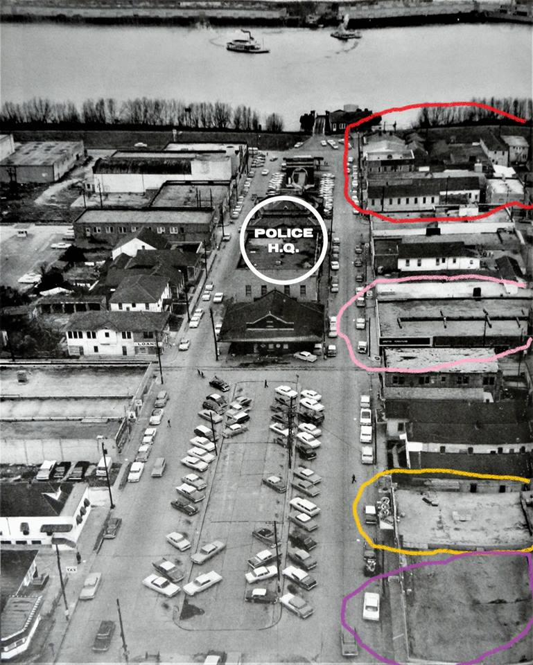 Red circle indicates are where Clover Club, Bank Club and Blue Light Inn were located, pink is Billionaire Club, yellow was Sammy Marcello bar Joy Club and purple is Jefferson Amusement. In relation to Gretna PD.