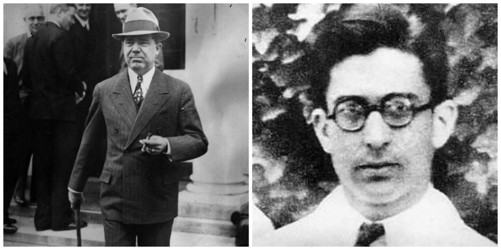 Huey P Long and his alleged assassin Dr, Carl Weiss (glasses)