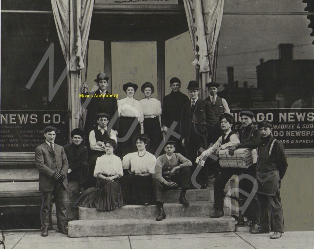 Moe Annenberg and his Chicago News Co., circa 1907, author's collection.