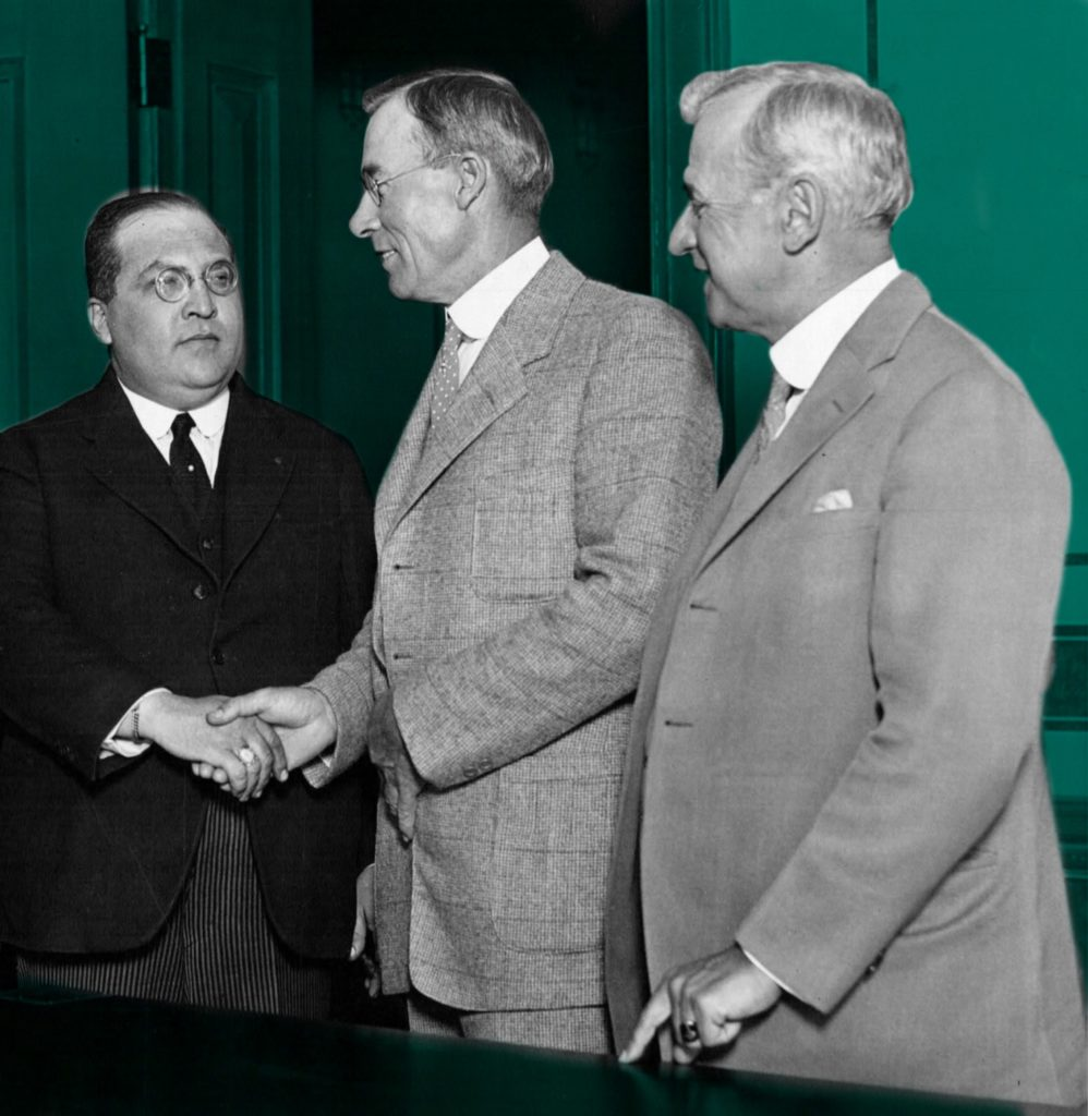 Mayor George E. Cryer (center) with the Mexican Secretary of Foreign Affairs, Los Angeles, 1924, author's personal collection. Cryer was dubbed 'Parrot's Parrot' because he bowed to the demands of his campaign manager, Kent Kane Parrot. Parrot headed up the city's crime syndicate, 'the Combination,' with political racketeer, Charlie Crawford.