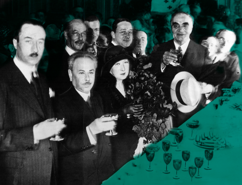 Somewhere lost in this sea of American and French mayors at a convention in France, is Los Angeles Mayor John Porter, who refused to join in with his comrades during this toast to the Presidents of both countries. Porter adamantly expressed that he wanted to uphold the laws of prohibition, even while abroad. Le Havre, France, 1931, author's personal collection.