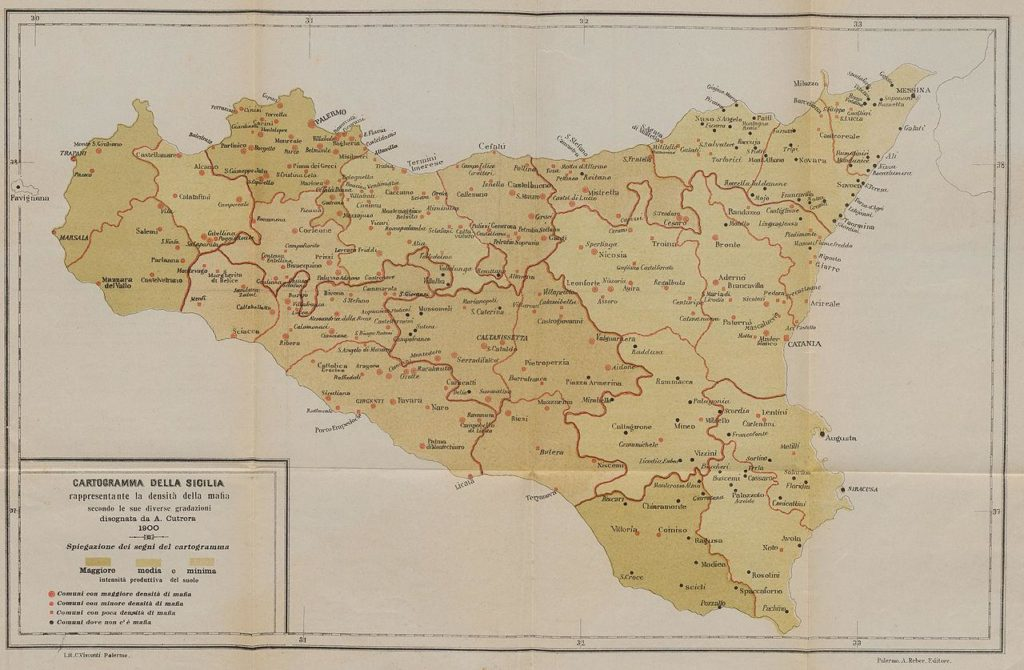 This map shows the Mafia presence in Sicily circa 1900. The red dots signify the towns with Mafia activity.