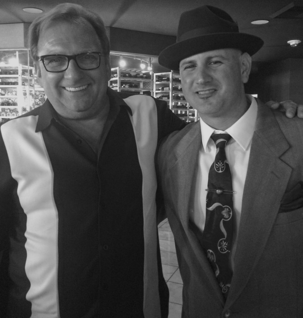A Dragna and a Lansky walk into a bar… Meyer Lansky and Jack Dragna grandkids, Meyer Lansky II (left) and J. Michael Niotta (right) chum it up in Las Vegas during the MobWorld Summit