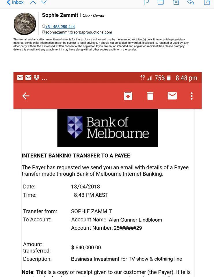 Sophie Zammit Bank Transfer 1