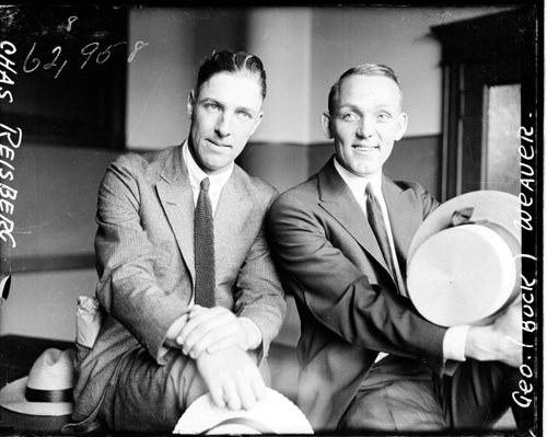 Infielders Swede Risberg (left) and Buck Weaver during their 1921 trial
