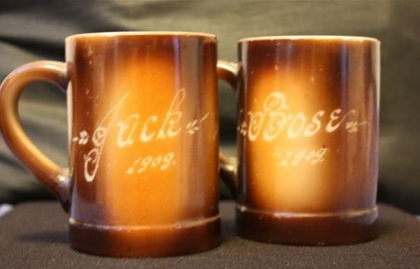 Commemorative mugs for Jack and Rose's second wedding anniversary