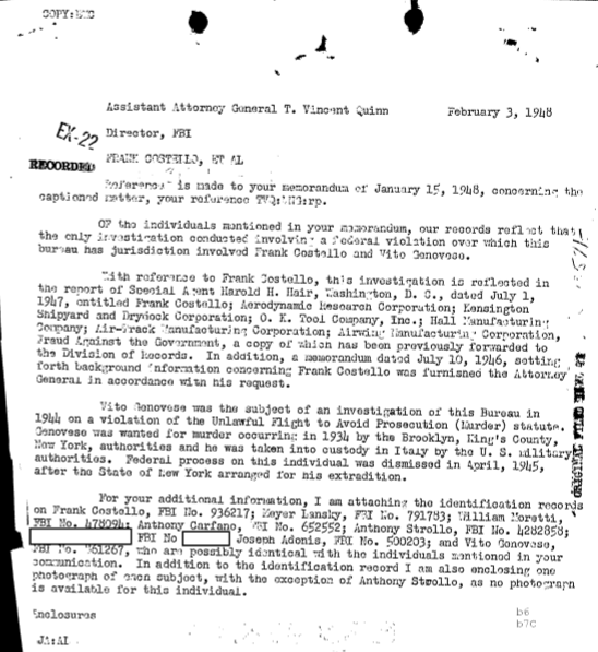 Hoover had information on several interesting individuals