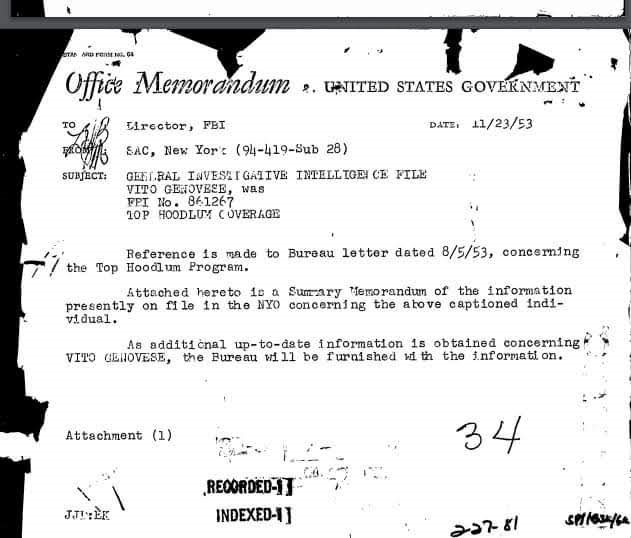 memo to the director of the FBI, J Edgar Hoover dated the 23rd November 1953.