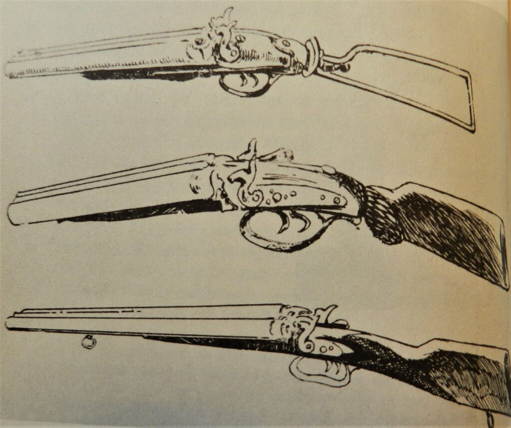 Illustrations of the three lupara recovered after the shooting.